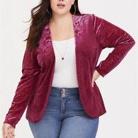 Torrid 1X 2X 4X Top Blazer Cardigan Red Velvet Burnout Plus Size Open Front NWT