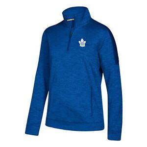 Toronto Maple Leafs NHL Adidas Women's Blue 1/4 Zip  ClimaWarm Fleece
