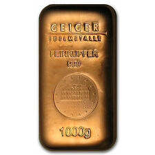 1000 gram Copper Bar - Geiger (Poured, .9999 Fine) - SKU #87445