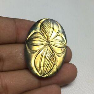 52.5 Cts Yellow Labradorite Carving Gemstone Size 38x26x6.5 mm Oval Shape PA-1