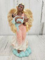 African American Black Angel Holding Baby Child Ceramic Figurine