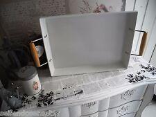 Tablett Griff Metall weiß Schale Blech Metalltablet shabby chic Vintage Landhaus