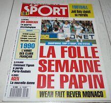 LE SPORT 26 1990 FOOTBALL MARSEILLE OM MONACO PAPIN WEAH BATS BORDEAUX RUGBY