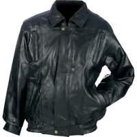 BOMBER JACKET Mens Black Genuine Leather Flight Coat Motorcycle Biker Riding