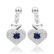 Sapphire Blue Zircon Silver Plated Hearts Drop Dangle Stud Earrings E807