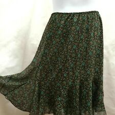 Dressbarn 20W Skirt Brown Blue Floral Chiffon Ruffle Plus Size
