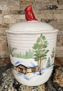NWT St Nicholas Square Winter White Holiday Cookie Jar Cardinal Deer Log Cabin