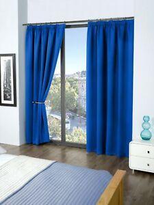Cali Woven Blackout Pencil Pleat Curtains Plain Simple and Elegant - Soft Fabric