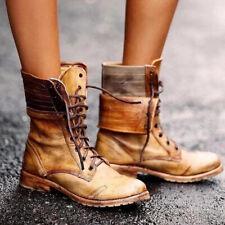 Women Lace Up Zipper Leather Mid-calf Boots Ladies Military Biker Combat Shoes