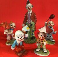 "CLOWN FIGURINES SET OF 5 HAND DECORATED 5"" TO 8 1/8"" UMBRELLAS VINTAGE"