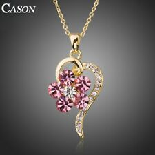 Gold Heart Pendant Necklace for Women Pink Crystal Flower Necklaces Jewelry Gift