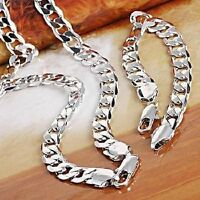 18K White Gold Plated Silver Necklace & Bracelet Set Men's Fashion Birthday Gift