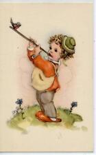 Bambino con Flauto Musica Childrens Boy w Flute Music PC circa 1940 2