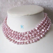 "58"" 5-6mm Light Violet Baroque Freshwater Pearl Necklace Dyed Color"