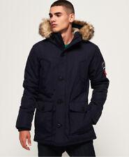 Superdry Mens Everest Parka Jacket Navy Fur Parka Quilted Ship Worldwide