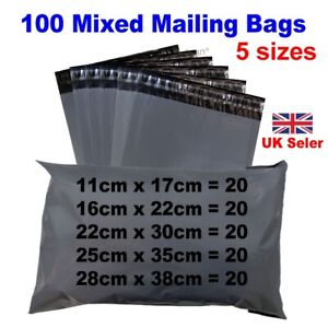 100 Mixed Mailing Bags Strong Grey Plastic Poly Postal Postage Mailer -5 Sizes