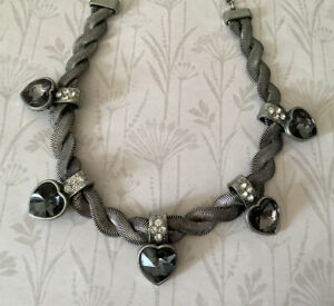 Contemporary Grey Glass Heart Necklace