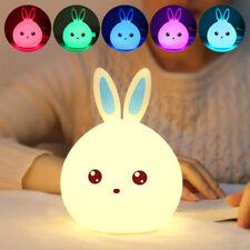 1Pcs Veilleuse Lapin Lampe USB LED Lumière Multicolore Silicone Tactile Capteur
