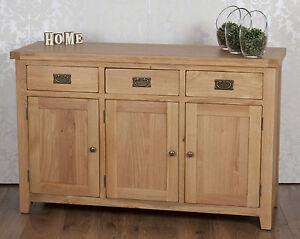 Sideboard Cabinet Cupboard Oak Solid 3 Door 3 Drawer in Chunky Harrogate Natural