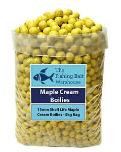 MAPLE CREAM Carp Fishing Boilies 15mm 1kg-20kg - Shelf Life Boilies - Coarse