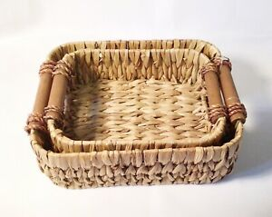Water Hyacinth Storage Basket Set Wicker Tray Wooden Handles Office Kitchen Pair