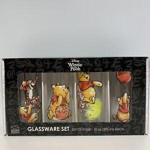 Disney Winnie the Pooh 4pc Glassware Set Piglet Tigger 10 oz Glasses - NIB