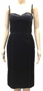 $350 Dolce & Gabbana Women's Black Velvet & Satin Sleeveless Sheath Dress 6/42