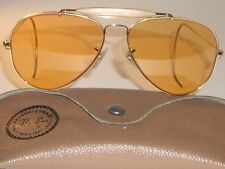 58[]14 VINTAGE B&L RAY-BAN ALL-WEATHER AMBERMATIC OUTDOORSMAN AVIATOR SUNGLASSES