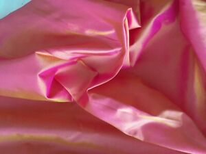100% Silk Fabric Material. Two Tone Pink and Peach One metre x 115 cm