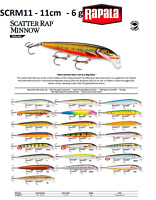 Rapala Scatter Rap® Minnow Fishing Lure 11cm 6g Various Colours