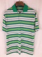Nike Golf Dri-Fit Tour Performance Men's L Green Striped Short Sleeve Polo Shirt