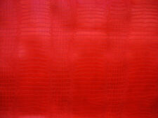 Red fake Leather vinyl Crocodile Nile embossed Faux upholstery fabric by yard