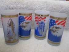 Kennedy Space Center NASA 4 Frosted Glasses Shuttle Astronaut Eagle Gold Trim