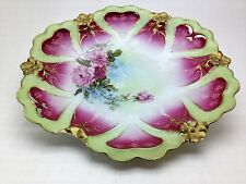 """Antique 11"""" Plate with Roses and Rose Color and Green New Habsburg Austria"""
