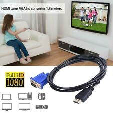 HDMI Male to VGA Male Cable Adapter Monitor Lead HD 1080P Converter For Laptop