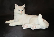 White Cat Figurine British Shorthair Kitten Sculpture Poly Stone New in Box Pets