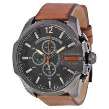 DIESEL Men's 51mm Chronograph Brown Calfskin Mineral Glass Quartz Watch DZ4343
