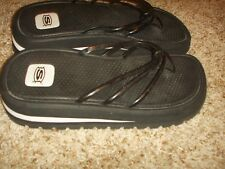 SKECHERS Black White Thong Sandals Womens Size 9.5