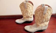 Vintage Ostrich Cowboy Ortho Osullivan White Inlaid Cowgirl Boots Rockabilly 6.5