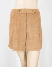 Aqua Faux Suede A Line Skirt Zippered Snap Front Camel Brown Tan S $68 9846 BM14
