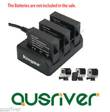 TripleBattery Slot Charger Dock+3.1A Dual USB Output Adapter for GoPro Hero 33+4