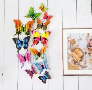 12Pcs Bunch of Butterflies Home Décor Colorful Whimsical 3D Wall Stickers Magnet