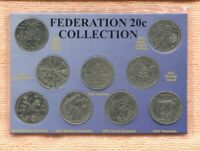 2001 Centenary Of Federation States 20 Cent coin (Set Of 9)  Carded J-732