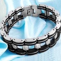 Stainless Steel Black Rubber Motorcycle Biker Silver Chain Link Men's Bracelet