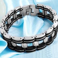 New Style Silver Stainless Steel Black Rubber Motorcycle Bike Men Chain Bracelet