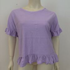 George Ladies Lilac Striped Frill Edge Short Sleeved Loose Fit Top UK Size 16