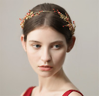 Women Girl Red flower Crystal Party Gold Hair Headband head Band PROP Garland