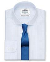 T.M.Lewin Mens Slim Fit Sky Blue Check Poplin Shirt 20