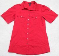 Large Fang Red Black Dress Shirt Short Sleeve 2 Pocket Cotton Spandex Button Up