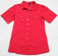 Large Fang Red Black Dress Shirt Short Sleeve 2 Pocket Cotton Spandex Button Up